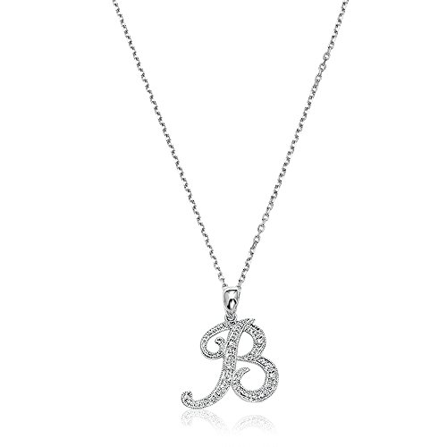 Cut Diamond Initial Letter (14K Gold and Diamond Initial letter B Pendant charm (0.05TDW, G-H Color, I1 Clarity) 15MM with 18