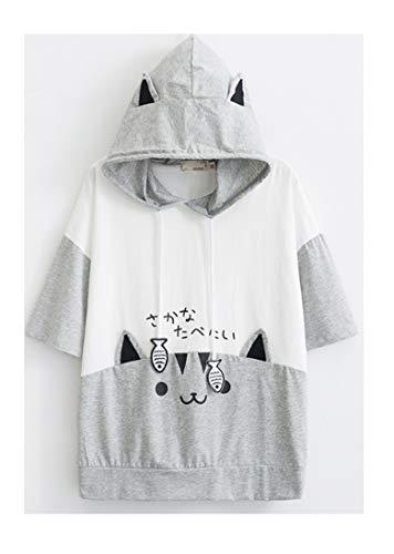 Cosplay Anime Bunny Emo Girls Sweater Hoodie Ears Costume Panda Cat Emo Bear Jacket T Shirt Top Shirt (Style #9)]()