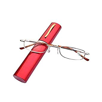 Red Folding Reading Glasses Pencil Case Portable Metal Frame Eyeglasses Women Men Pen Holder Hyperopia Old Light Glasses +3.0