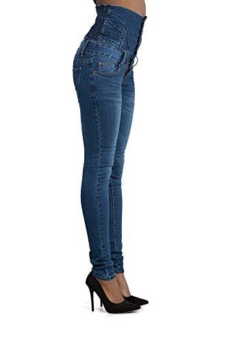 Para mujer Denim cintura alta skinny jeans tamaños 68101214 Azul