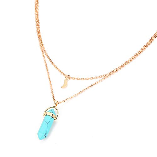 xingqiong Bohemia Double Layer Crescent Moon Pendant Necklace Faux Natural Stone Glass Hexagonal Column Bullet Choke Clavicle Necklace for Women Men Jewelry Gift (Blue)