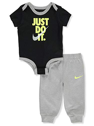 Nike Baby Boys' 2-Piece Pants Set Outfit - Black/Gray, Newborn - Newborn Two Piece Outfit