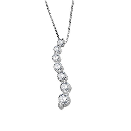 Journey Pendant 7 Diamond Stone (14K White Gold 7 stone Journey Diamond Pendant Necklace (0.72 Carat) - IGI Certified)
