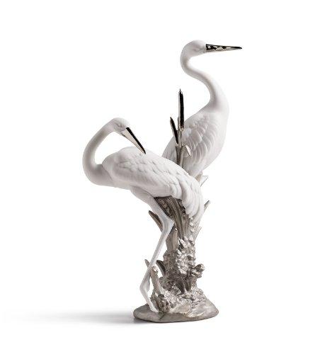 Lladro Courting Cranes Re-Deco Porcelain Sculpture