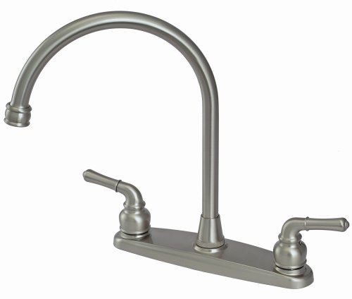 8 Kitchen Deck Faucet, 2-handle, Washerless Cartridge – By Plumb USA Satin Nickel Finish No Sprayer