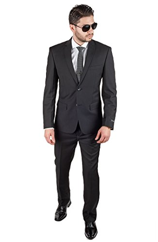 Mens Solid Suit Black (Slim Fit Men Suit Solid Black 2 Button Notch Lapel Flat Front Pants By Azar (38 Regular 32 Pants))