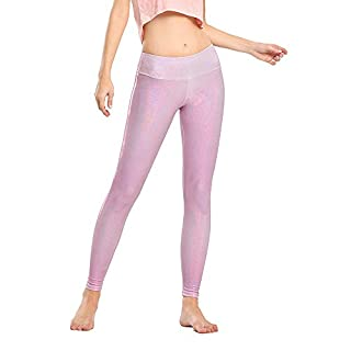 Houmous Women's Workout Ankle Leggings, Tummy Control Full-Length Yoga Pants(Rose,XS)