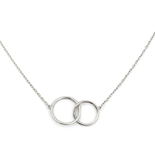 14k White Gold Tiny Delicate Interlocking Circles 16