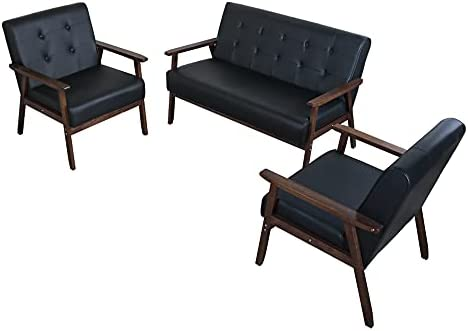 JIASTING Mid Century 1 Loveseat Sofa and 2 Accent Chairs Set Modern Wood Arm Couch and Chair Living Room Furniture Sets (8428 Black Set of 3)