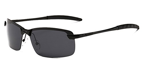 Aoron Men's Fashion UV400 Protection Polarized Sunglasses with Black-gray Lens Metal Black Frame (So Sunglasses Free Metal Rimless)