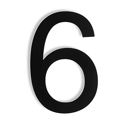 Mellewell Floating House Numbers 5 Inch Stainless Steel 18-8, Comtemporary Style Black, Number 6 Six, HN05HB-6
