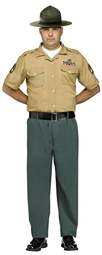 Fun World Men's Marine Drill Instructor Adult Costume, Multi, Standard -