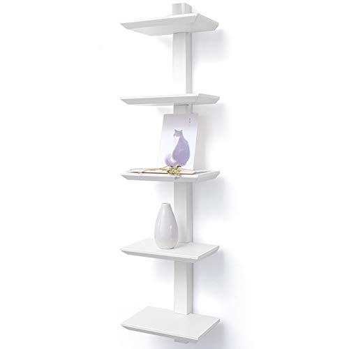 LIANGLIANG Floating Wall Shelves Vertical Suspension Fixed Design Storage Display Stand Minimalist Wood Moisture-Proof, 3 Styles (Color : A-White, Size : 20x15x84cm)