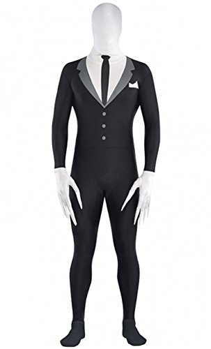 4chan Man Costume (Amscan Slender Man Partysuit Halloween Costume for Teens, Medium, with Double)