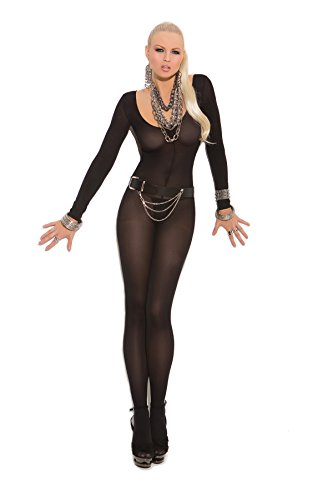 Women's Opaque Long Sleeve Crotchless (Black Bodystocking)