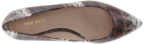 Nine West Onlee sintético del dedo del pie puntiagudo plana Cognac Dark Brown Safari Snake