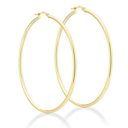 Miabella 18K Gold Over Sterling Silver Italian 2mm Polished Round Hoop Earrings for Women Men 15mm, 20mm, 30mm, 40mm, 50mm, 60mm (60.00)