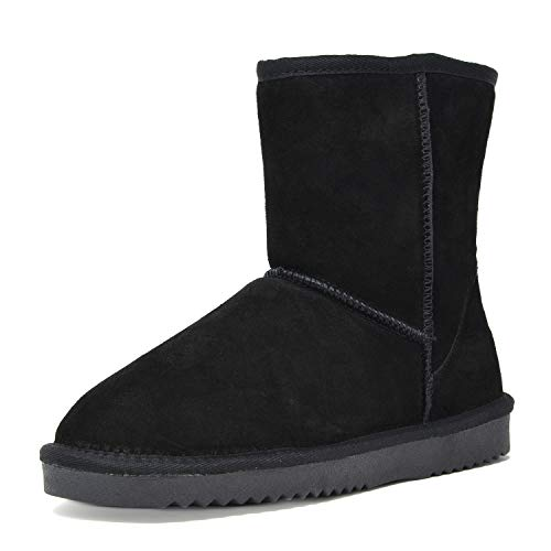 DREAM PAIRS Women's Shorty Black Sheepskin Fur Ankle High Winter Snow Boots - 9 M US