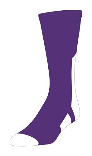 TCK Player Id Purple/White Number Crew Sock (#4 - Single Sock, Small)