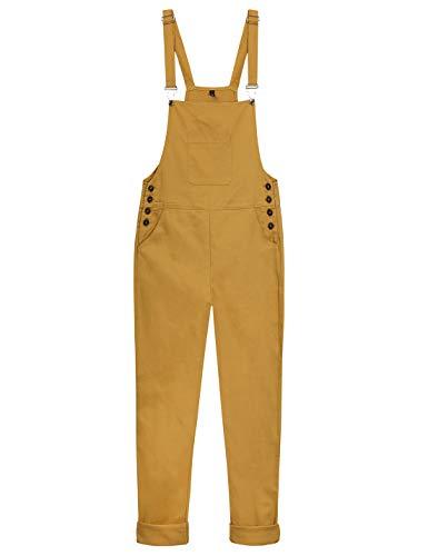 Yeokou Women's Loose Baggy Cotton Wide Leg Jumpsuit Rompers Overalls Harem Pants (Medium, Yellow002)