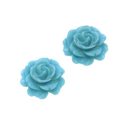 - Vintage Look Lucite Cabochon Bead Dusty Blue Flower Rose 15mm (2)