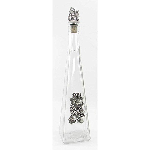Pyramid Hand-Blown Glass and Pewter Bottle for Grappa cavagnini (Decanter Glass Pyramid)