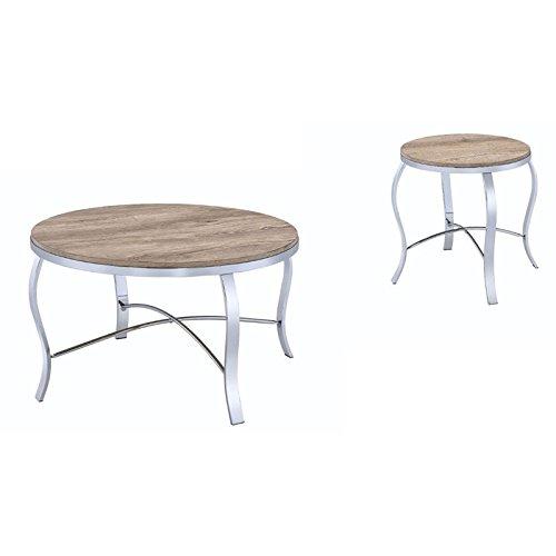 3 Piece Oak Cocktail Table - ACME Furniture 81705 Malai 3Piece Pack Coffee End Set, Weathered Light Oak & Chrome