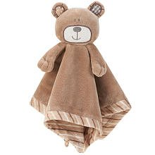 B is for Bear Security Lovie Lovey Plush Cozy Striped Soft Blanket