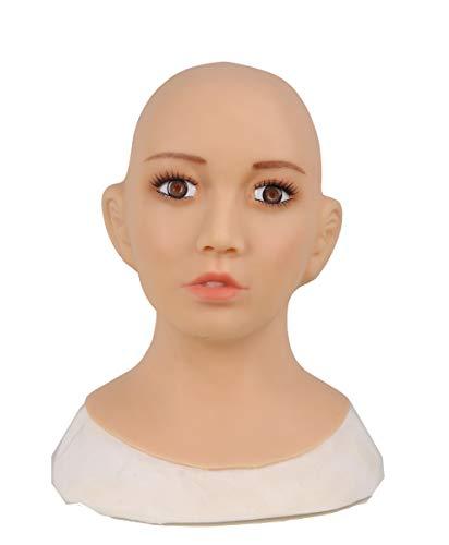 Ajusen 高品質 最新四代 シリコン仮面 女装 コスプレ仮面 いたずら ハロウィン 性転換 仮装 CD オカマ 男の娘 美人五官 変装 変性 仮面カバー