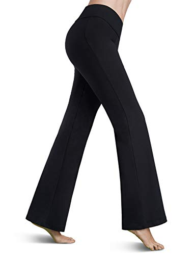 Bamans Womens Comfort Fit Bootcut Yoga Pants Tummy Control Workout Non See-Through Wide Leg Bootleg Flare Pants, Black XL