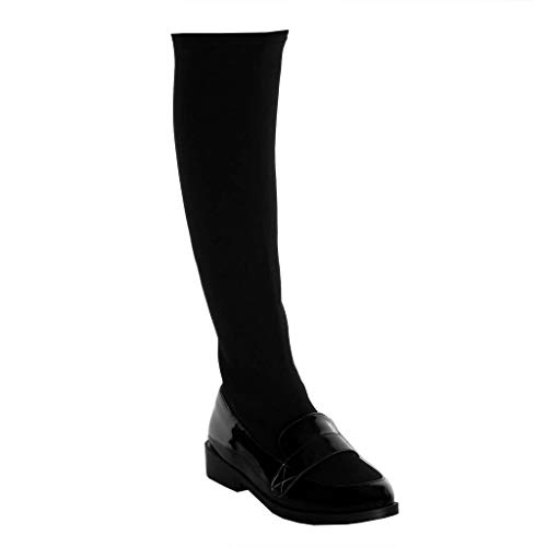cm Block Material Patent Shoes Black Women's Mocassins Angkorly Soft Thong bi Boots on 3 Slip Fashion Heel E7qwEF8Zxp