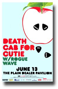 Death Cab For Cutie Poster - 11 x 17 Promo for a Concert w/ Rogue Wave -- Apple (Death Promo Poster)