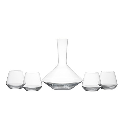 Schott Zwiesel Tritan Crystal Glass Pure Collection 3/4-Liter Carafe Decanter and Pure Collection Stemless Burgundy Red Wine Glass, 16-Ounce, Set of 4