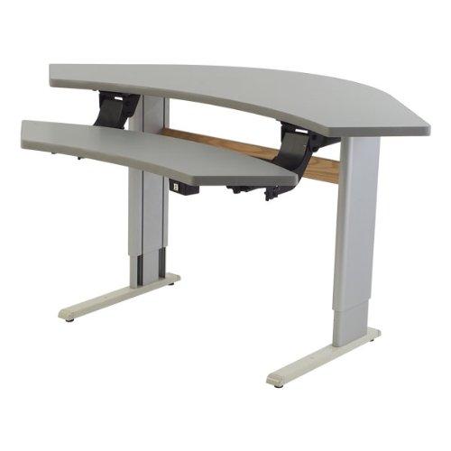 Adjustable Height Bi-Level Corner Computer Workstation - Power Adjustable