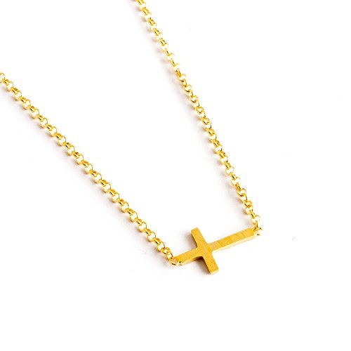 Dogeared Faith 14k Gold Dipped Silver Sideways Cross Necklace, 16''+2'' Extender by Dogeared (Image #1)
