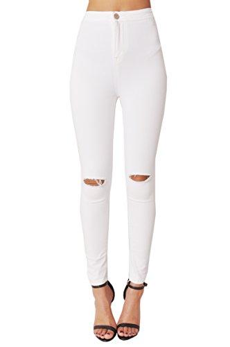 Vaqueros Alto High De Prendas Denim Lily Sintética White Lulu Blanco Ripped Vestir Jeans Piel Lavado Pantalones Ácido Discoteca Talle Skinny Waisted Negro nawn4SqY