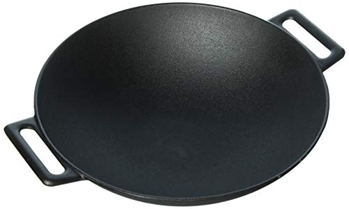 Jim Beam JB0200 12'' Pre Seasoned Heavy Duty Construction Cast Iron Grilling Wok, Large Black
