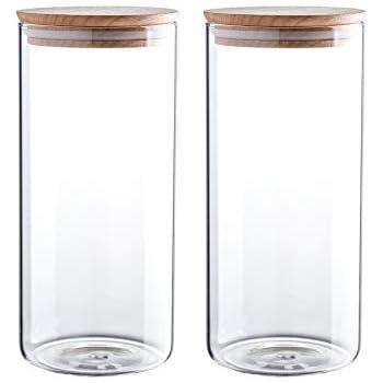 de23b682a150 Amazon.com: Clear Glass Storage Jar 60/47/34/24oz With Beech Wood ...