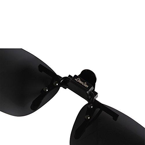 Conduite Soleil Polarisée Lunettes 004 LianSan Sur petite Mirroir de Clip de Femmes taille Up noir Flip Rectangle Hommes Lentille Soleil Lunettes 0xgqpEw7q