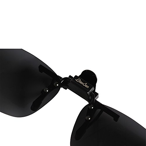 al negro pequeño Driving Sol Lens LTS004 Rectángulo Aire Men Gafas LianSan Up Sunglasses tamaño Polarizadas Libre Mujeres Mirrored de Deporte Clip Flip en Bw7qR