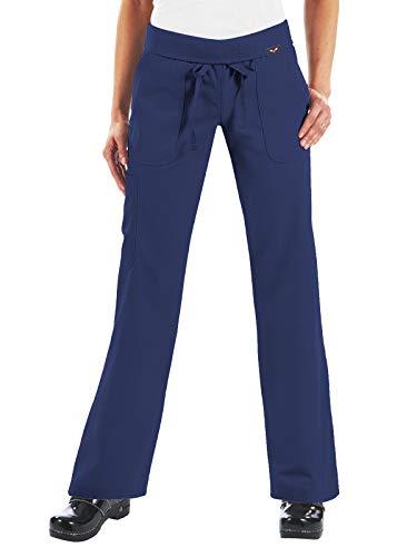 KOI Women's Petite Morgan Ultra Comfy Yoga-Style Cargo Scrub Pants, Navy, Medium/Petite -