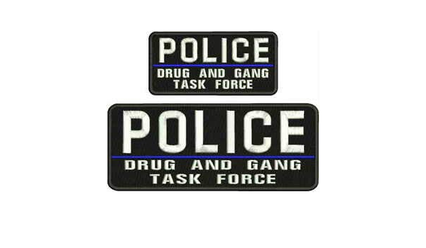 POLICE DEA TASK FORCE EMBRIDERY PATCH 4X10 AND 2X5  hook on back blk//red