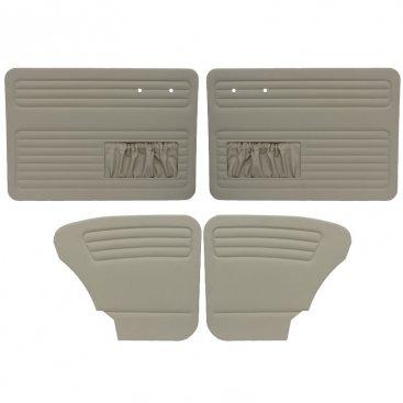 VW Door Panels, Full Set w/ Front Pockets, Grey Smooth Vinyl, Beetle Sedan 1965-1966 (Door Panels Front Tmi)