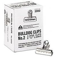 Boston 2002 - Bulldog Clips, Steel, 1/2 Capacity, 2-1/4w, Nickel-Plated, 36/Box