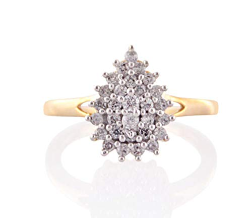 Diamond Scotch Cubic Zirconia Cluster Halo Pear Frame Promise Ring in 14K Yellow Gold Over (8) (14k Yg Frame)