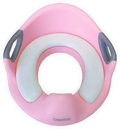 Baobë Asiento de Inodoro para Niños, Reductor de WC para Bebé, Tapa WC con Reposabrazos, Redondos y Ovalados Rosa