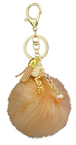 Key Chain Accessories for Women - Light Coffee Faux Fur Ball Charm and Artificial Pearl with Key Ring