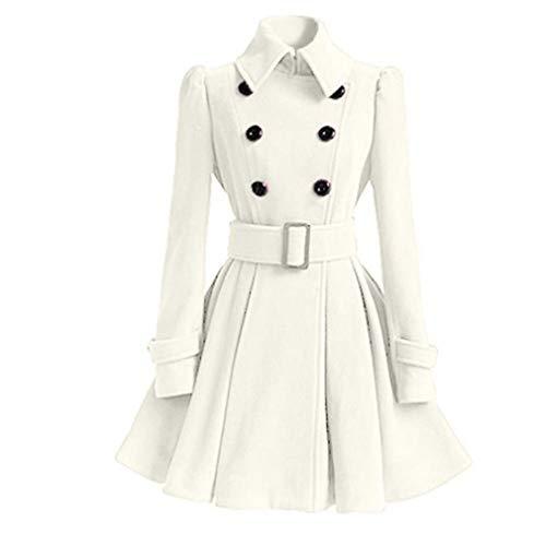 Women Trench Coat Winter Belt Buckle Trenchcoat Double-Breasted Vintage Coat White XXL