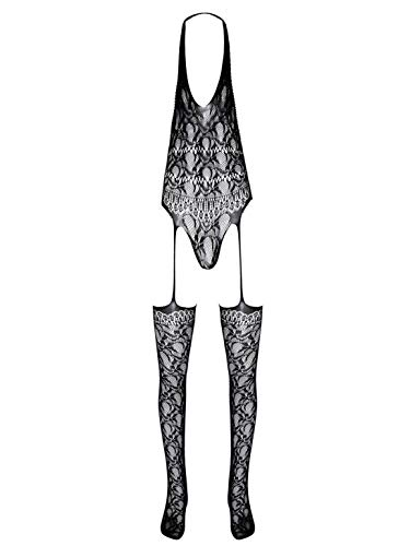 Lejafay Men's Sexy See Through Lace Garter Lingerie Set Babydoll Nightdress Lingerie Rompers
