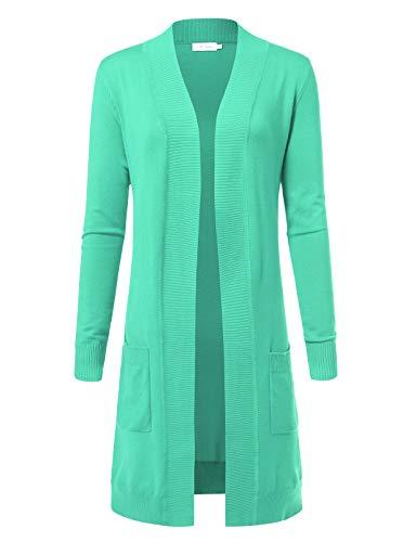 - Women's Solid Soft Stretch Longline Long Sleeve Open Front Cardigan L Mint